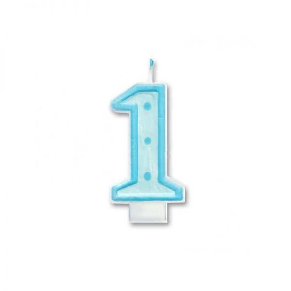 Świeczka urodzinowa jedynka 1 Niebieska