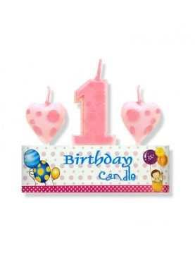 Świeczka urodzinowa jedynka 1 zestaw różowy