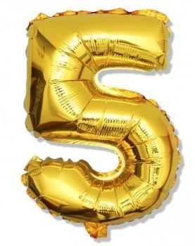 Balon foliowy 5 cyferka urodzinowa ZŁOTA 40 cm