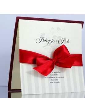 Klasyczne zaproszenia ślubne w kolorze Burgund