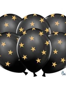Balony pastelowe czarne w złote gwiazdki