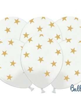 Balony pastelowe białe w złote gwiazdki
