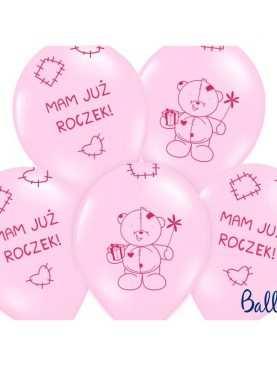 Balony na Urodziny MAM JUŻ ROCZEK różowe