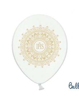 Balony na I Komunię Świętą biale + złota hostia