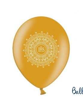 Balony na I Komunię Świętą złote + biała hostia
