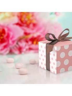 Pudełeczka dla gości kropki różowe