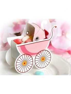 Pudełeczka dla gości na chrzest wózeczek różowy