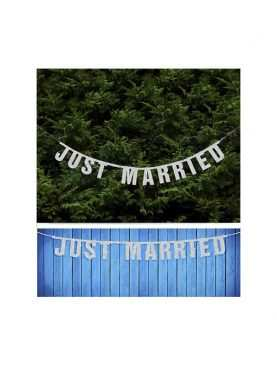 Baner JUST MARRIED srebrny do dekoracji sali i domu