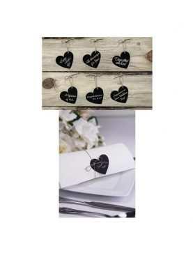 Zawieszki czarne kredowe do napisów w kształcie serca