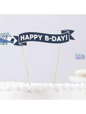 Karteczka na patyczku na tort Happy Birthday SAMOLOCIK