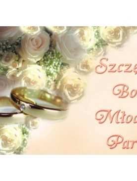 Plakat Szczęść Boże Młodej Parze kremowe róże