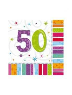 Serwetki urodzinowe liczby 50