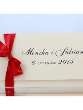 Zaproszenie ślubne czerwono-kremowe