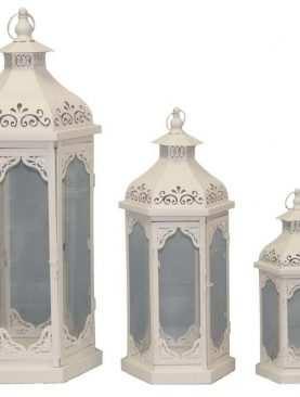 Lampiony metalowe komplet 3 sztuki Wzór 1