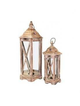 Lampiony drewniany komplet 2 sztuki Wzór 1