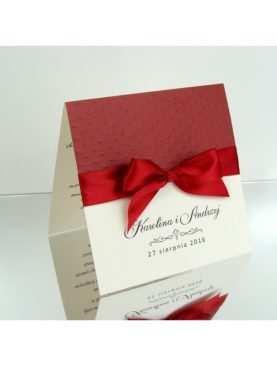 Zaproszenie ślubne klasyczne z papierem burgundowym