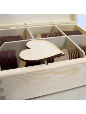 Serca drewniane DECOUPAGE 6 cm bez dziurki do skrzyneczek