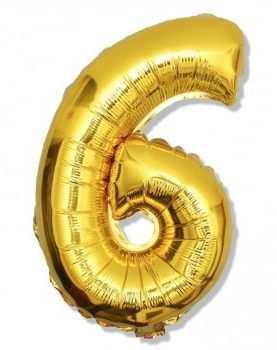 Balon foliowy 6 cyferka urodzinowa ZŁOTA 40 cm
