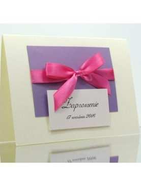 Zaproszenie liliowo różowe 3D