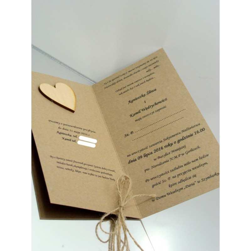 Zaproszenie ślubne W Stylu Eko Dekorak