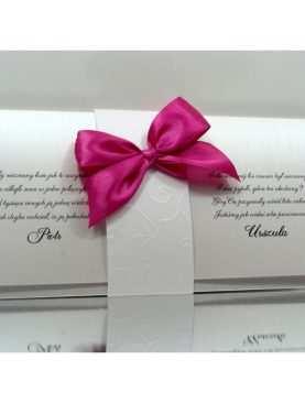 Zaproszenia Ślubne perłowe z opaską tłoczoną