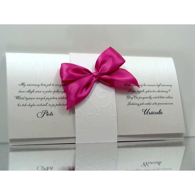 Zaproszenia ślubne Perłowe Z Opaską Tłoczoną Dekorak