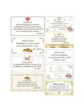 Podziękowania Ślubne weselne dla Gości WZORY bileciki