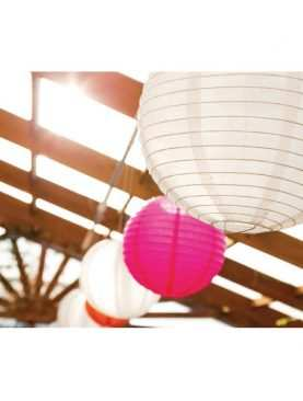 Lampion latarnia papierowy FUKSJA do dekoracji sali