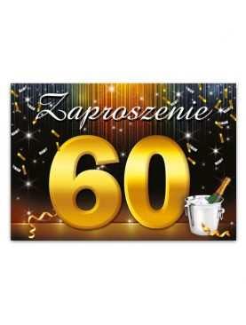 Zaproszenie na urodziny 60 wzór szampan