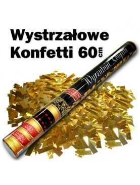 Tuba strzelająca złote konfetti złotymi paseczkami 60 cm