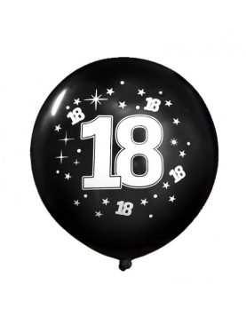 Balony urodzinowe 18 stka MEGA czarny