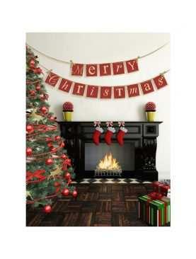 Baner Merry Christmas na satynowej tasiemce Boże Narodzenie