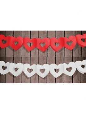 Girlanda papierowa serduszka serca 3 metry Biała lub Czerwona
