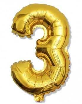 Balon foliowy 3 cyferka urodzinowa ZŁOTA 40 cm