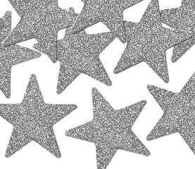 SREBRNE Gwiazdki gwiazdeczki brokatowe z brokatem