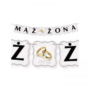Baner do dekoracji Mąż Żona obrączki