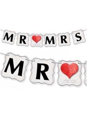 Baner do dekoracji Mr & Mrs serduszka