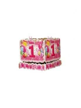 Dekoracje podwieszane na urodzinki roczek - różowe