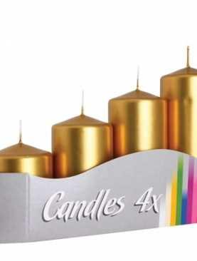 Świeca walec ZŁOTA metalik 4 szt świeczki świece