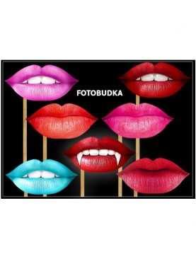 Usta kolorowe do zdjęć kolorowe fotobudka 7 szt