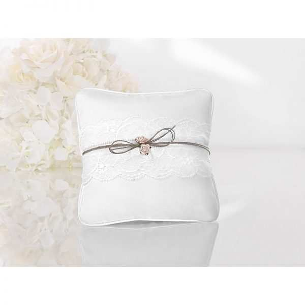 Poduszka pod obrączki biała koronka