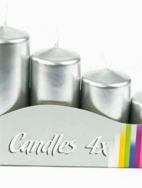 Świeca walec SREBRNA metalik 4 szt świeczki świece