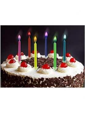 Świeczki urodzinowe kolorowy płomień 6 szt