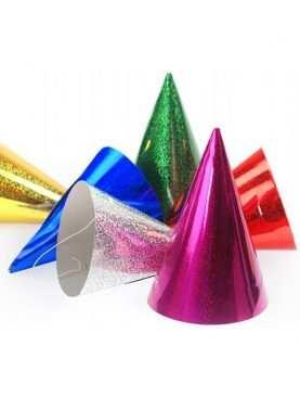 Czapeczki urodzinowe holograficzne kolorowe