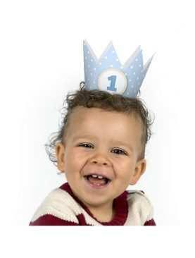 Czapeczki urodzinowe 1 Korona na pierwsze urodziny błękitna