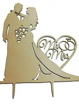 Figurka Topper toper na tort ślubny DREWNIANY wzór MR&MRS