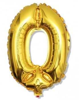 Balon foliowy 0 cyferka urodzinowa ZŁOTA 40 cm