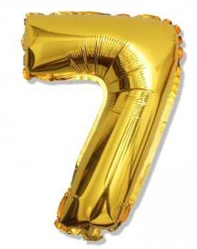 Balon foliowy 7 cyferka urodzinowa ZŁOTA 40 cm