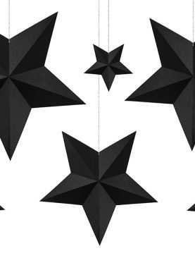 CZARNE Gwiazdki gwiazdeczki WISZĄCE 6 sztuk