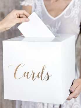 Pudełko na koperty kopertówka na pieniądze ZŁOTE